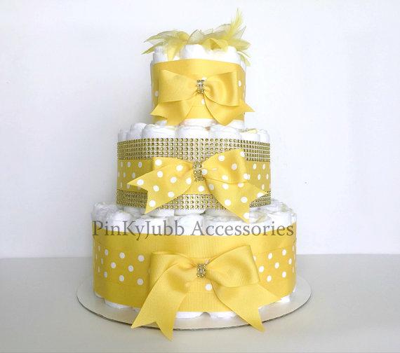 Yellow And Grey Baby Shower Cake