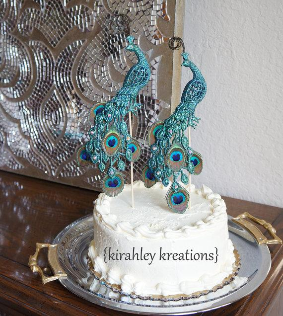 PEACOCK Wedding Cake Toppers    Gorgeous   Glittery Iridescent Green     PEACOCK Wedding Cake Toppers    Gorgeous   Glittery Iridescent Green Pair   Mini Peacock Feathers  Curled Herl and Sparkling Swarovski Jewels
