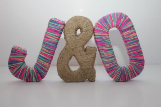 8  Free Standing Personalized Paper Mache Letters With Multicolored     8  Free Standing Personalized Paper Mache Letters With Multicolored Wool    Yarn And Jute   Symbol  Wedding Decor  Home Decor