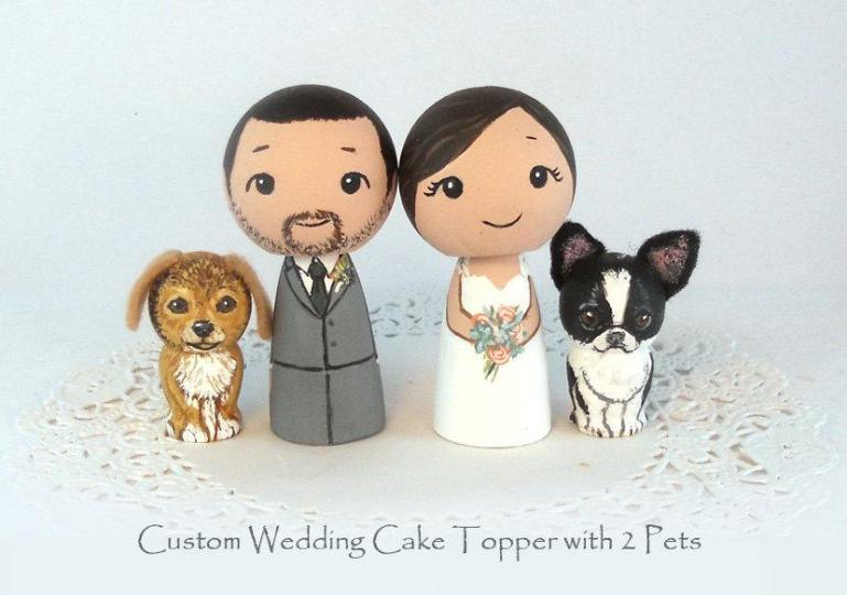 Custom Wedding Cake Toppers 2 Pets Bride Groom Dog Cat Kokeshi Doll     Custom Wedding Cake Toppers 2 Pets Bride Groom Dog Cat Kokeshi Doll  Personalized Family Toppers wedding Decor