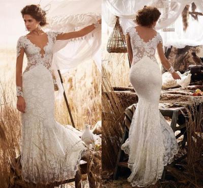 Elegant Country Beach Long Sleeves Wedding Dresses 2016 V ...