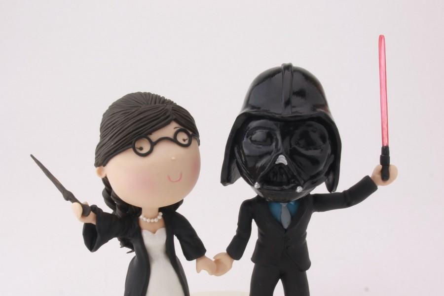 Witch And Sith Wedding  Harry Potter Star Wars Cake Topper  Wedding     Witch and Sith wedding  Harry Potter Star Wars cake topper  Wedding  figurine  Handmade  Fully customizable