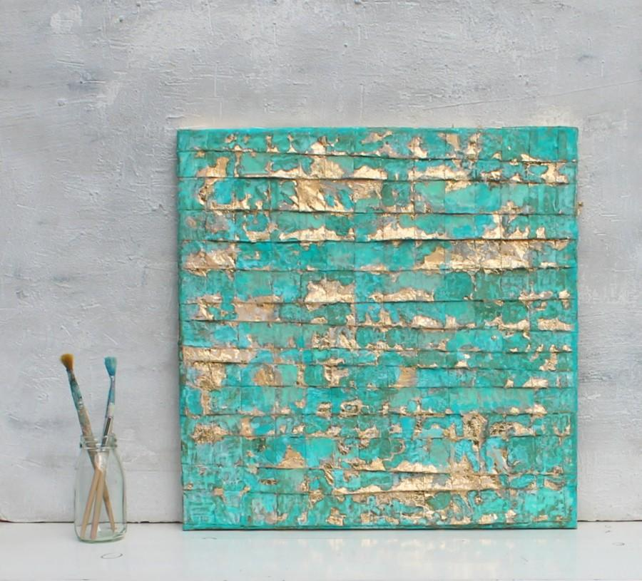 Abstract Painting  Turquoise Gold Art  Gold Leaf  Contemporary Art     Abstract painting  turquoise gold art  gold leaf  contemporary art   abstract  wall decor  Art Collectibles  unlimited craftworks  artworks