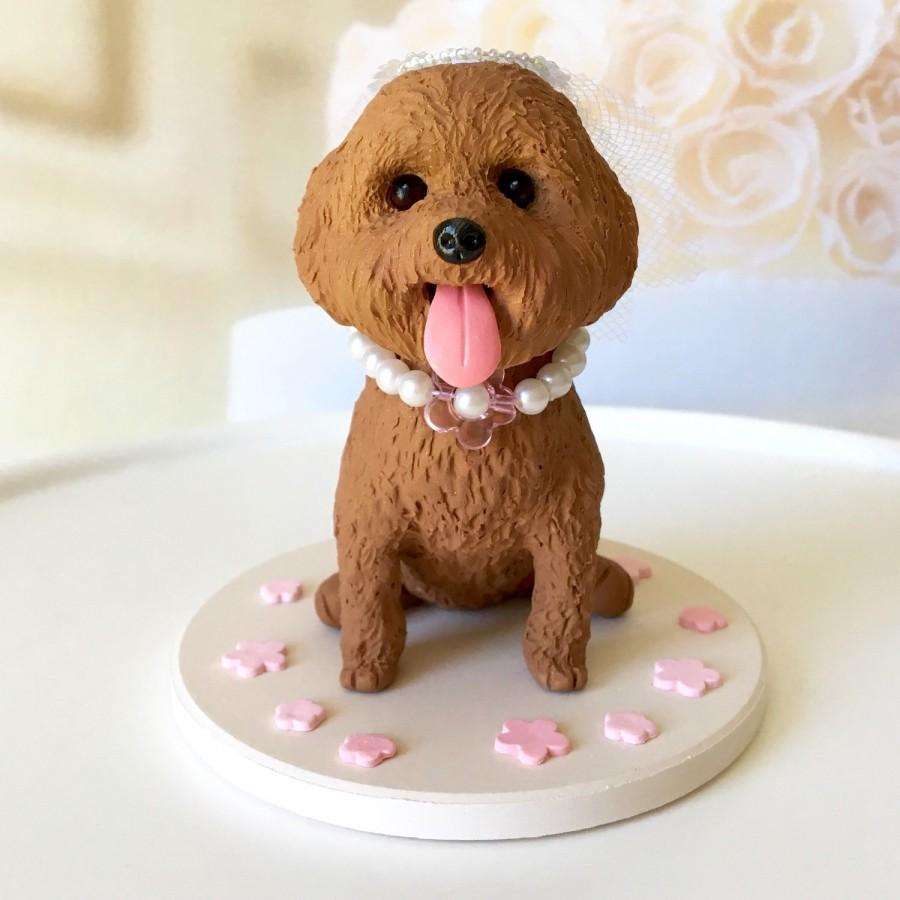 Custom Red Toy Poodle Cake Topper  Dog Wedding Cake Topper  Cute     Custom Red Toy Poodle Cake Topper  Dog Wedding Cake Topper  Cute Cake Topper   Wedding dog cake topper  Red Mini Poodle Figurine