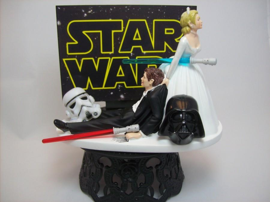 Star Wars Darth Vader Stormtrooper Bride And Groom Funny Wedding     Star Wars Darth Vader Stormtrooper Bride and Groom Funny Wedding Cake Topper  Jedi Sith Lightsaber Awesome Groom s Cake