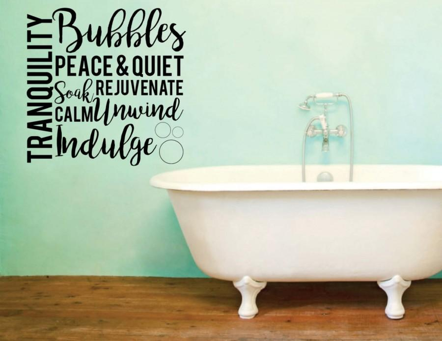 Vinyl Wall Word Decal   Tranquility Bubbles Peace   Quiet Soak     Vinyl Wall Word Decal   Tranquility Bubbles Peace   Quiet Soak Rejuvenate  Calm Unwind Indulge  Home Goods   Bathroom Decor   Wall Words