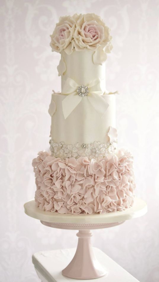 Cake   Pink And White Wedding Cake With Roses  2750360   Weddbook Pink and White Wedding Cake With Roses