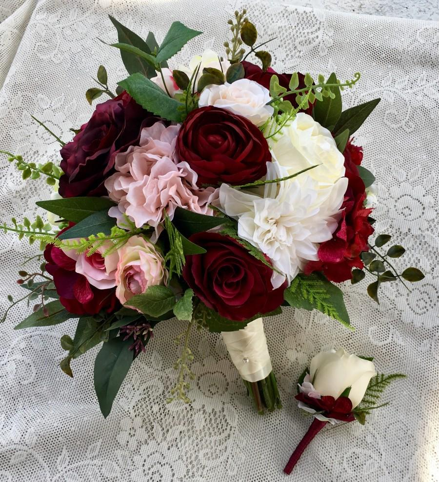 Wedding Bouquet Burgundy Blush Bridal Bouquet Silk Wedding Flowers     Wedding bouquet Burgundy Blush Bridal bouquet Silk Wedding flowers burgundy  bouquet Wedding accessory Blush wedding flowers Burgundy bouquet