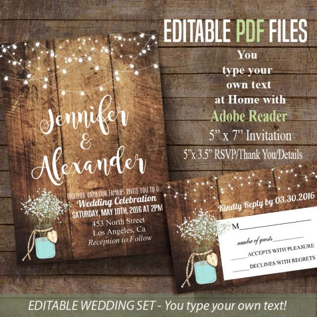 Print Your Own Rustic Wedding Invitations