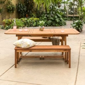 Outdoor Patio Dining Sets  Dining Tables   Chairs   Bed Bath   Beyond Forest Gate Eagleton Patio 3 Piece Acacia Wood Patio Dining Set