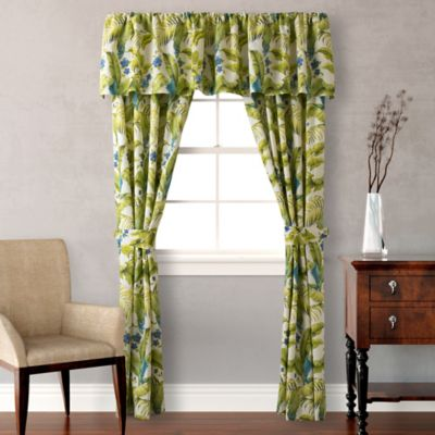 Tommy Bahama 174 Blue Palm Window Curtain Panels And Valance