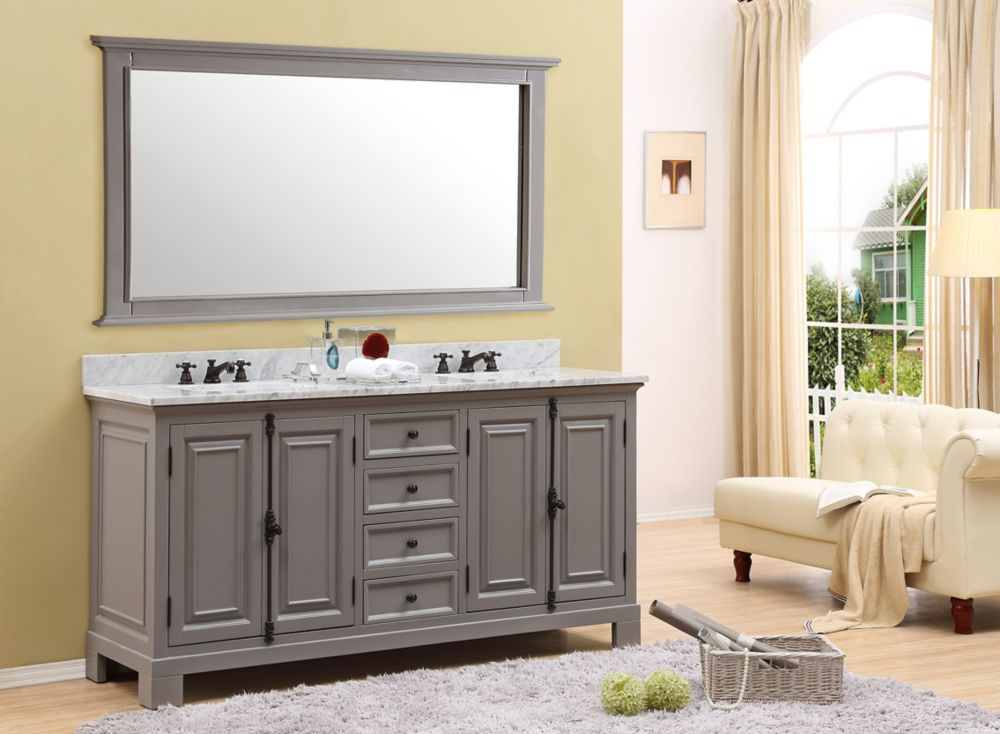 Water Creation Greenwich 60 Inch W Vanity In Gray With