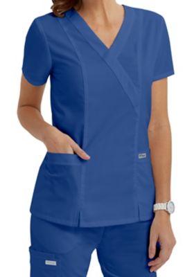 Grey's Anatomy 2 Pocket Crossover Scrub Tops | Scrubs & Beyond