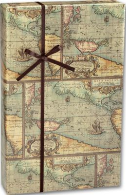 World Map Gift Wrapping Paper Roll  Vintage   Bags   Bows World Map Gift Wrap  24  x 100