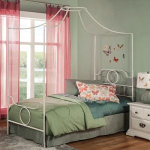 Buy White Canopy for Twin Bed from Bed Bath   Beyond Fashion Bed Group Emsworth Twin Kids Metal Canopy Bed in White