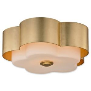Buy Gold Ceiling Lights from Bed Bath   Beyond Troy Lighting Allure 2 Light Flush Ceiling Light in Gold Leaf with Flower  Shade