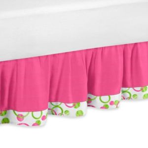 Buy Hot Pink Bed Skirt from Bed Bath   Beyond Sweet Jojo Designs Mod Circles Queen Bed Skirt