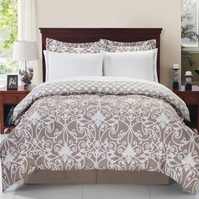 Solano 8 Piece Reversible Comforter Set In Taupe White