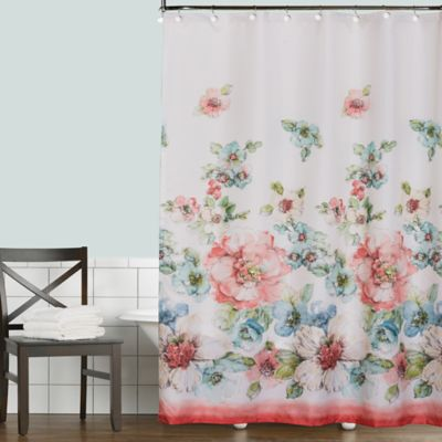 Coral Watercolor Shower Curtain Bed Bath Amp Beyond