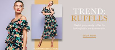 Designer Dresses For Women   Lord   Taylor Laundry by Shelli Segal colorful floral dress with tiered ruffles and more  trendy dresses at lordandtaylor