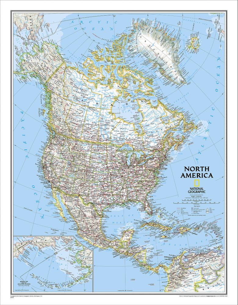 North America Classic Wall Map - National Geographic Store