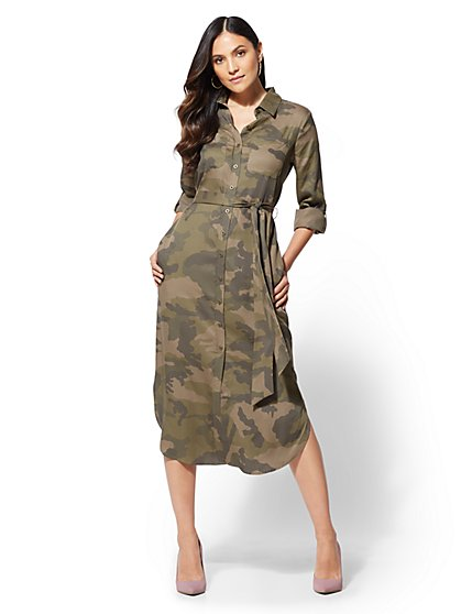 Midi   Sheath Dresses   New York   Company Camo Belted Midi Shirtdress   New York   Company