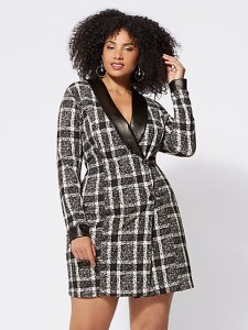 Plus Size Dresses for Women   Fashion To Figure FTF Bonnie Plaid Blazer Dress   New York   Company