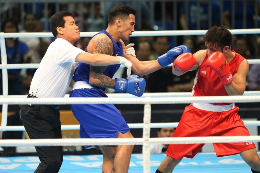 SEA Games  PH s John Marvin KOs Malaysian foe for 2nd boxing gold         victory over his Malaysian opponent en route to the gold medal in the  light heavyweight division in the SEA Games in Kuala Lumpur on Thursday