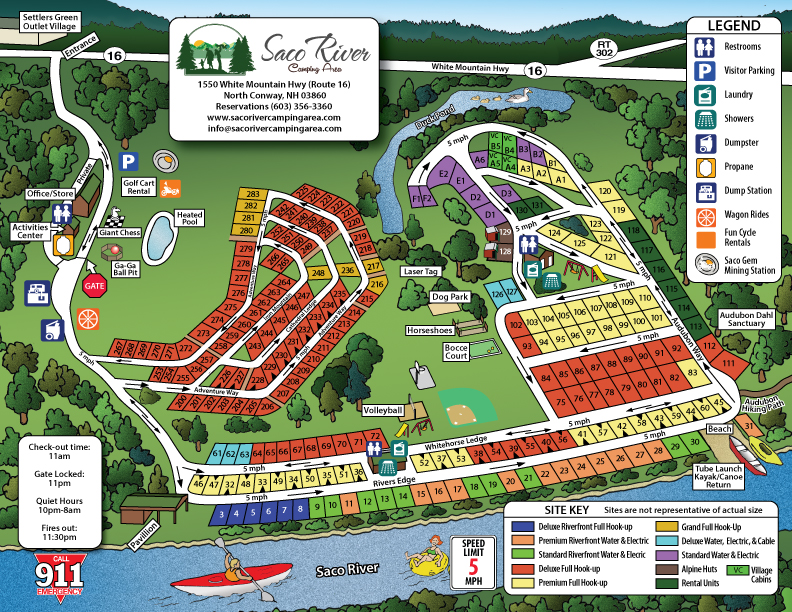 Campground Map   Saco River Camping AreaSaco River Camping Area Saco River Campground Map