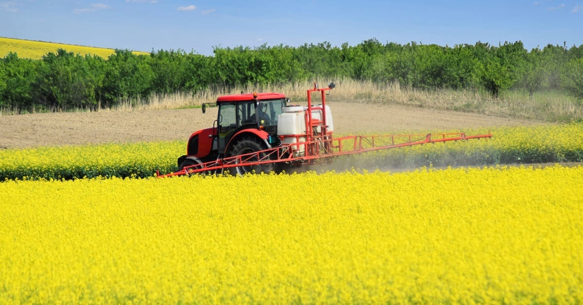 tractor plowing a field of yellow flowers