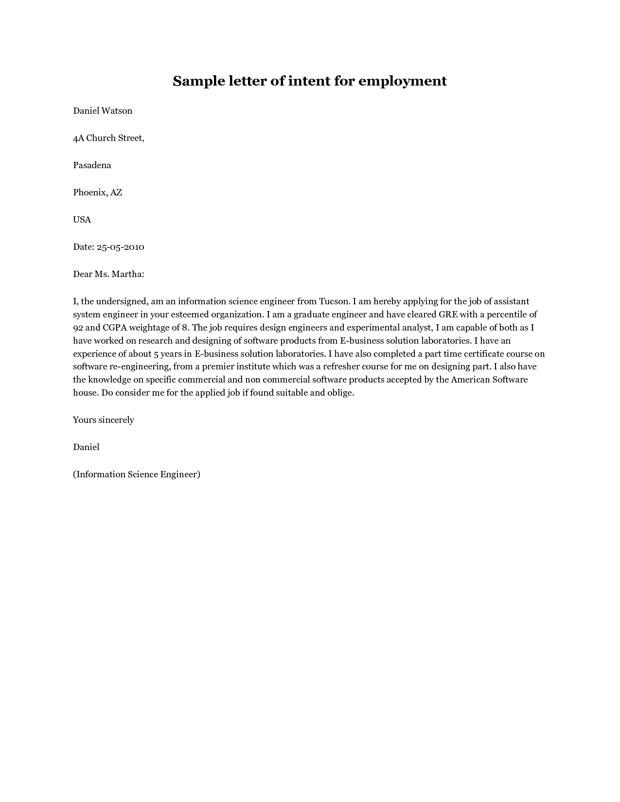 Intent Letter For Job