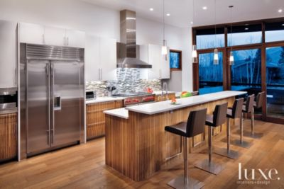 Modern Kitchen With Zebrawood Cabinetry Luxe Interiors