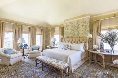 Traditional Neutral Bedroom With Hand Painted Wallpaper