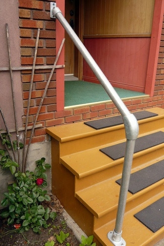Easy To Install Outdoor Stair Railing Simplified Building | Outside Handrails For The Elderly | Foshan Demose | Industrial Handrail | Metal Stair Handrail | Front Porch | Wrought Iron