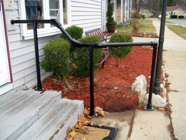5 Diy Metal Stair Railing Examples Simplified Building | Metal Handrails For Outdoor Steps | Hand | Front Porch Stair Railing | Outside | Patio | Gas Pipe