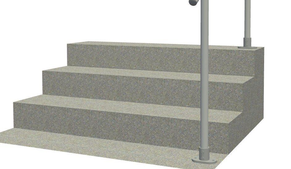 Surface 29A Aluminum Outdoor Stair Railing Easy Install | Aluminum Outdoor Stair Railing | 2 Step | Pressure Treated Deck Black | Commercial | Modern | Front Entrance