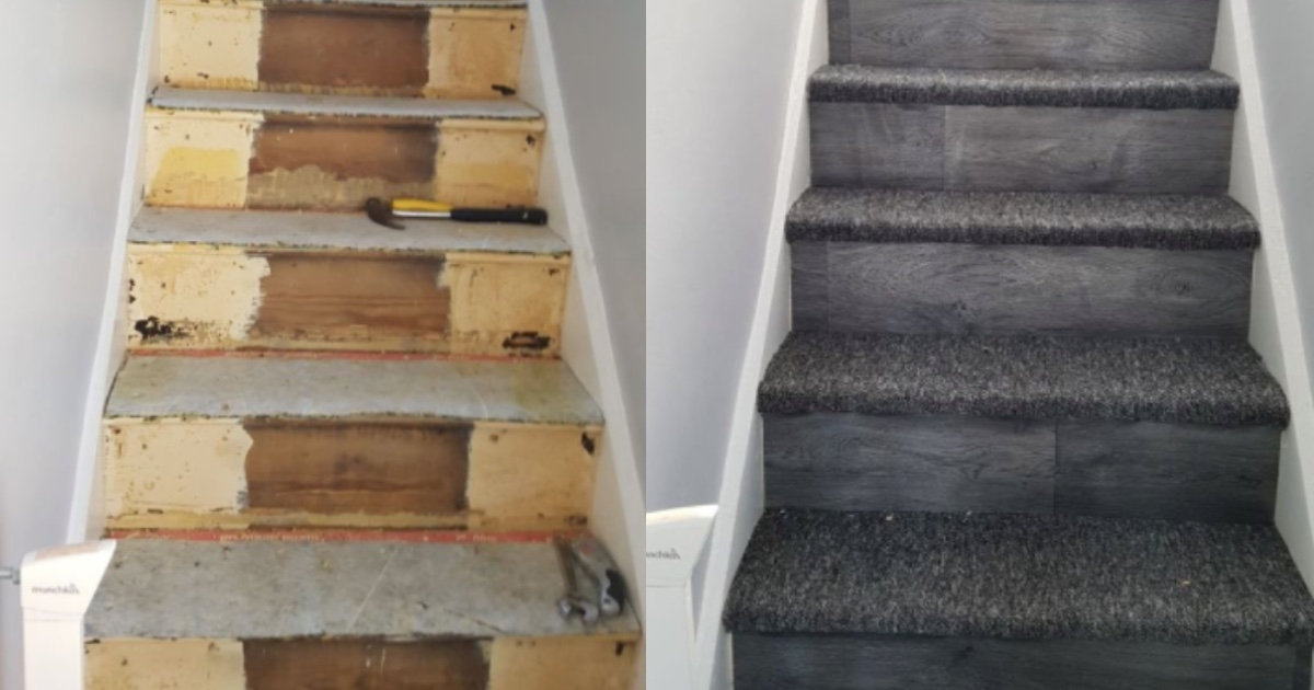 Mom Transformed Her Stairs Using Leftover Carpet And Vinyl   Vinyl And Carpet Stairs   Thin   Indoor   Light   Low Pile   Laminate