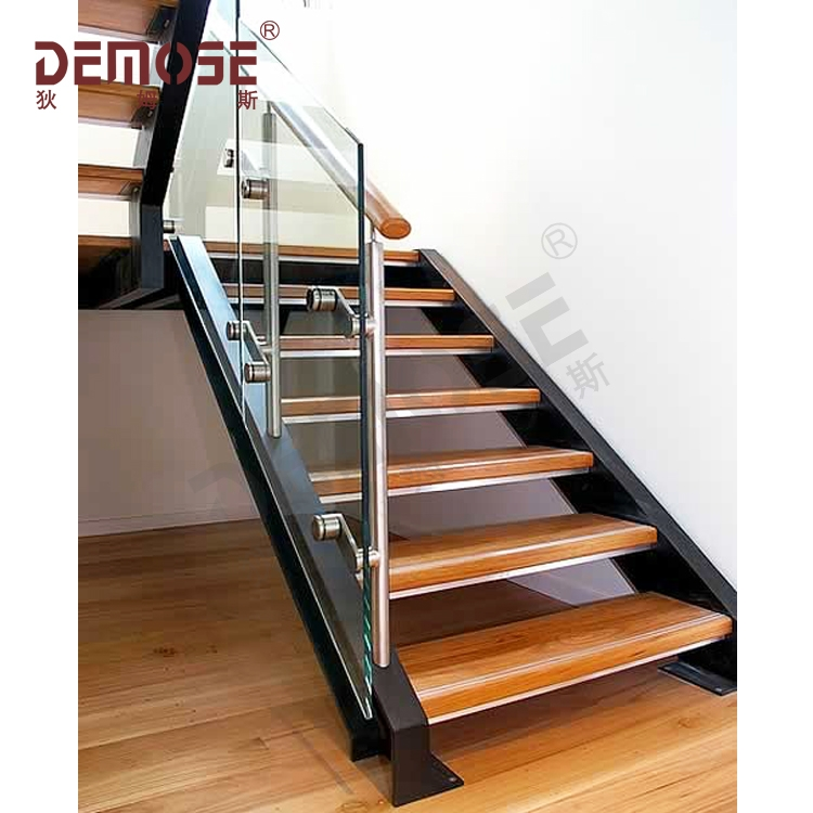 Livingroom Straight Staircase Simple Narrow Steel Wood Stairs | Steel And Wood Staircase | Glass | Custom | Handrail | Contemporary | Inside