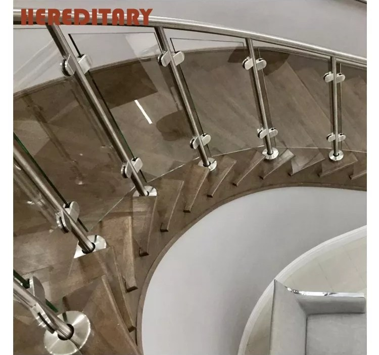 Tempered Glass Railing Solid Wooden Hand Railing Banister For | Staircase Steel Railing Designs With Glass | Glass Panel Wooden Handrail | Modern Style | Stair Glass Void | Curved | Metal