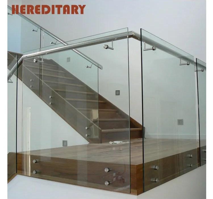 Frameless Glass Stair Railing Glass Standoff Bracket Glass   Frameless Glass Stair Railing   Metal   Contemporary   Seamless Glass   Glass U Shape   Detail