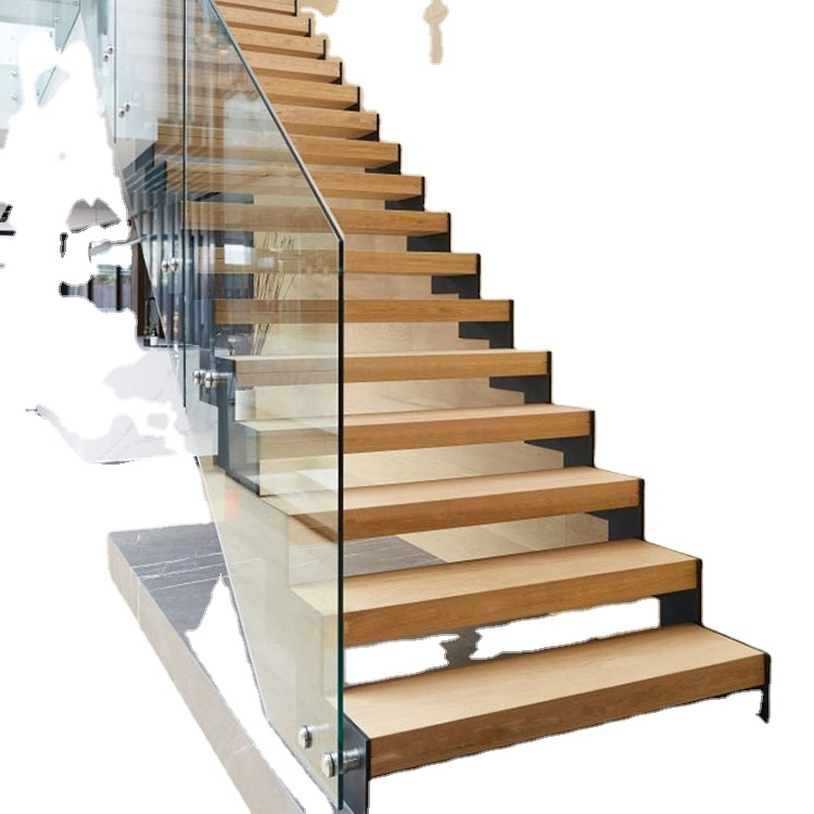 Indoor Floating Stairs With Solid Wood Treads Glass Fence For Sale   Wood Stairs For Sale   Cheap   Trailer   Open Tread   Landing   Wooden
