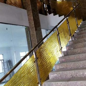 Slumped Tinted Tempered Glass Panel For Stair Rail Fusing Art | Tempered Glass Panels For Stairs | Metal | Glass Balustrade | Newel Post | Acrylic | Bannister