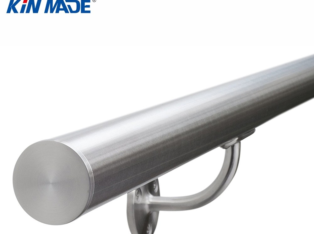 Stainless Steel Brushed Staircase Bannister Balustrade Handrail   Stainless Steel Bannister Rails   Staircase Railing   Wood   Brushed Stainless   Railing Kits   Balcony
