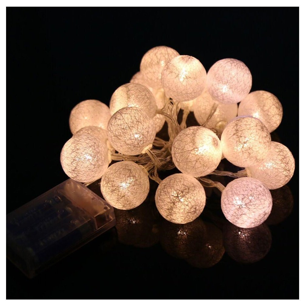 Cheap White Cotton Ball String Lights  find White Cotton Ball String     Get Quotations      Kemilove 2 3M 20 LED Cotton Rattan Ball String Lights  Party Wedding Christmas Decor Lights