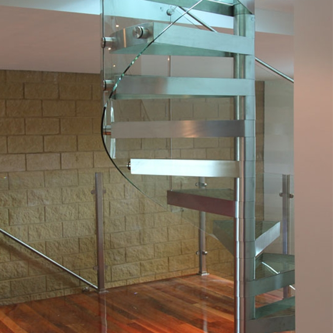 Ceramic Tile Stair Nosing Stainless Steel Glass Stair Rails   Stainless Steel Glass Staircase   House   Ultra Modern   Curved   Mirror   Design