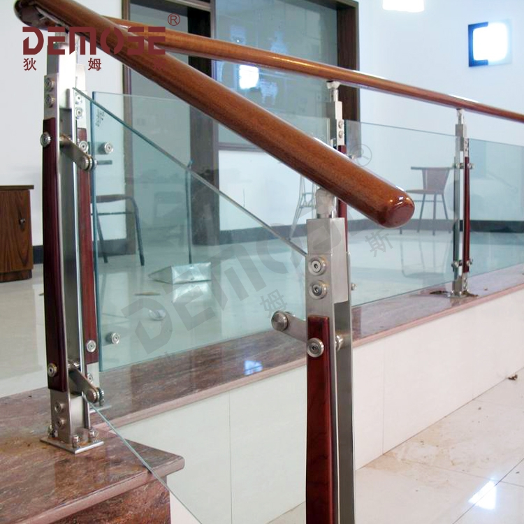 Stainless Steel Glass Wood Stair Railings Stainless Steel Hand | Steel Stair Railing With Glass | Stair Residential Building | Free Standing | Tempered Glass | Steel Pipe | Floor Mounted Glass