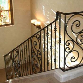 Indoor Balcony Cast Iron Stair Railing | Cast Iron Stair Railing | Residential | Horizontal | Chrome Picket Interior | Custom | Iron Baluster