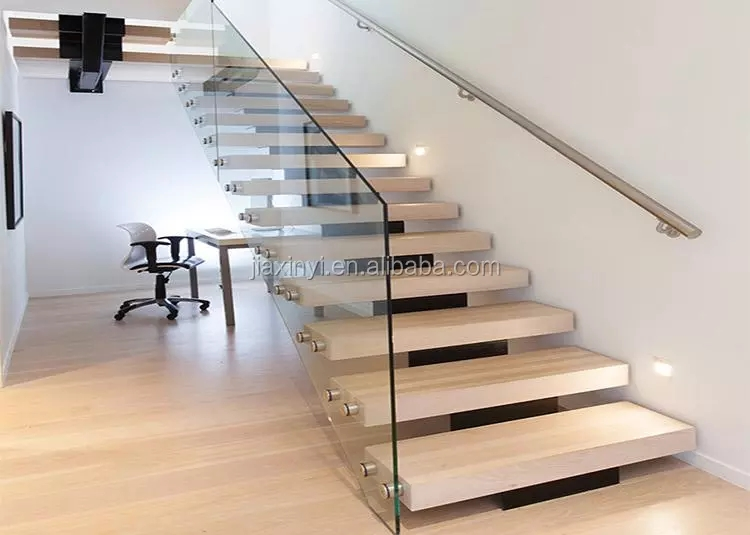 Modern Mono Stringer Glass Staircase Wooden Staircase Tempered | Wooden Staircase Designs For Homes | Beautiful | Royal Wooden Stair | Residential | Interior | Iron