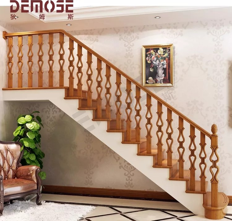 Solid Wood Quality Indoor Wooden Stair Railing For Modern Family   Modern Wooden Staircase Designs   Wood Carving Wooden Railing   Railing   Designer   Gallery   Layout
