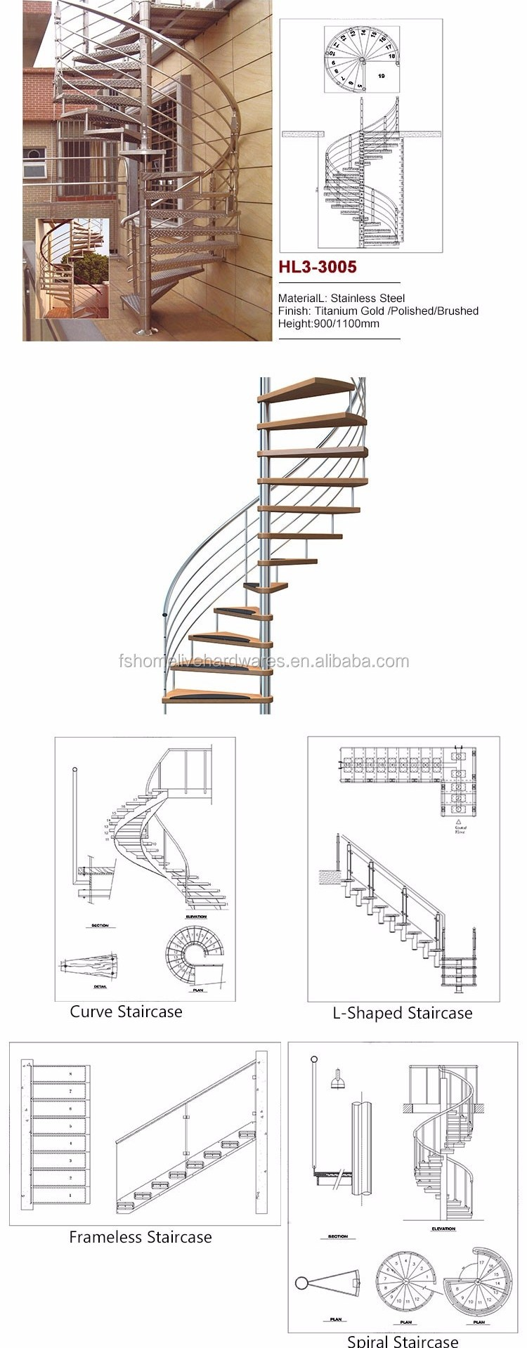 Cheap Buy Open Plan Standard Staircase Types Of Beautiful | 9 Foot Spiral Staircase | Stair Railing | Mylen Stairs | Stairway | Stair Parts | Staircase Railings
